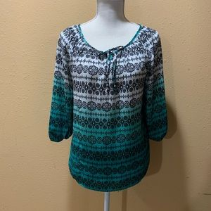 Women's small teal ombré blouse